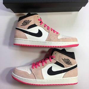 Air Jordan 1 Mid SE Crimson Hyper Pink Sneakers